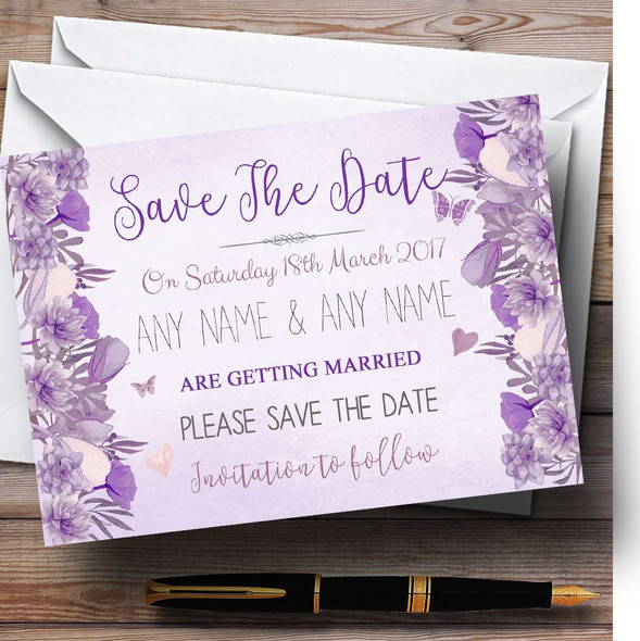 Cadbury Purple & Lilac Watercolour Floral Personalised Save The Date Cards
