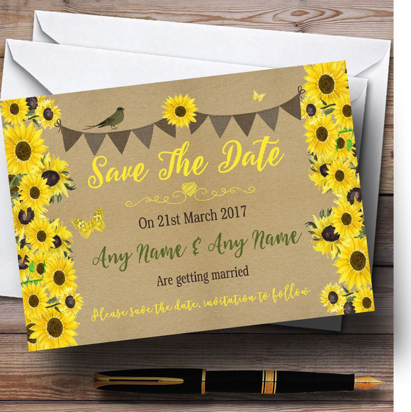 Rustic Sunflowers Vintage Personalised Wedding Save The Date Cards