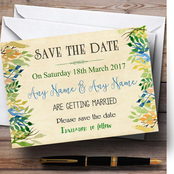 Vintage Autumn Leaves Watercolour Personalised Wedding Save The Date Cards