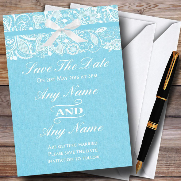 Vintage Aqua Sky Blue Burlap & Lace Personalised Wedding Save The Date Cards