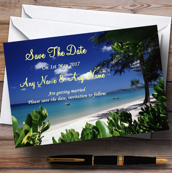 Thailand Beach Palm Tree Personalised Wedding Save The Date Cards