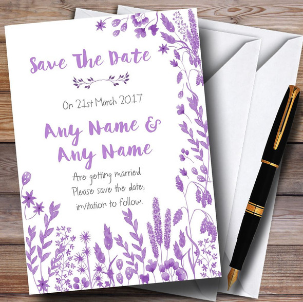 Dusty Purple Autumn Leaves Watercolour Personalised Wedding Save The Date Cards