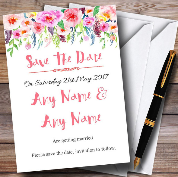 Coral Pink Watercolour Floral Personalised Wedding Save The Date Cards