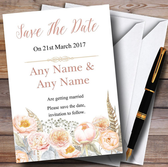 Coral Pink Peach Peonies Personalised Wedding Save The Date Cards