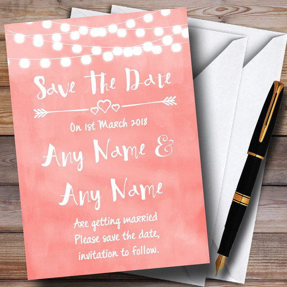 Coral Pink Lights Watercolour Personalised Wedding Save The Date Cards
