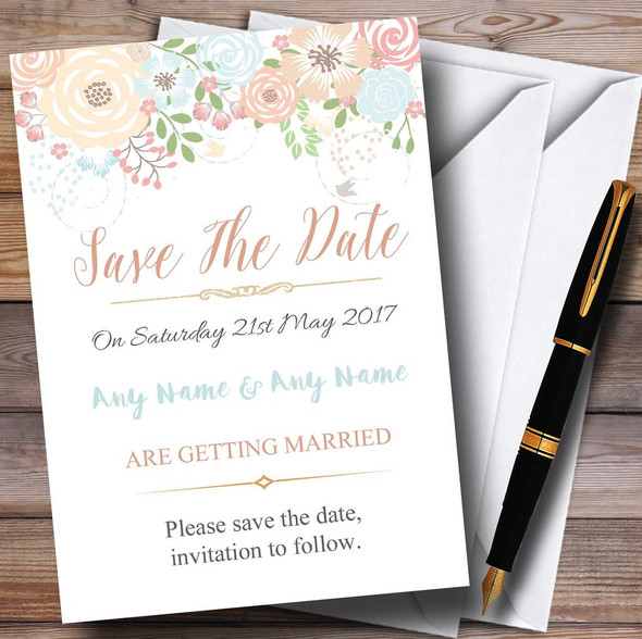 Coral Peach & Blue Watercolour Floral Header Personalised Save The Date Cards