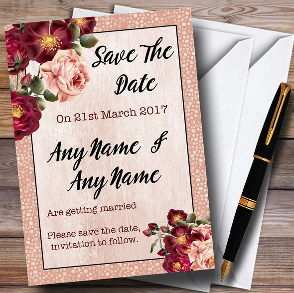 Coral Blush & Deep Red Watercolour Rose Personalised Wedding Save The Date Cards