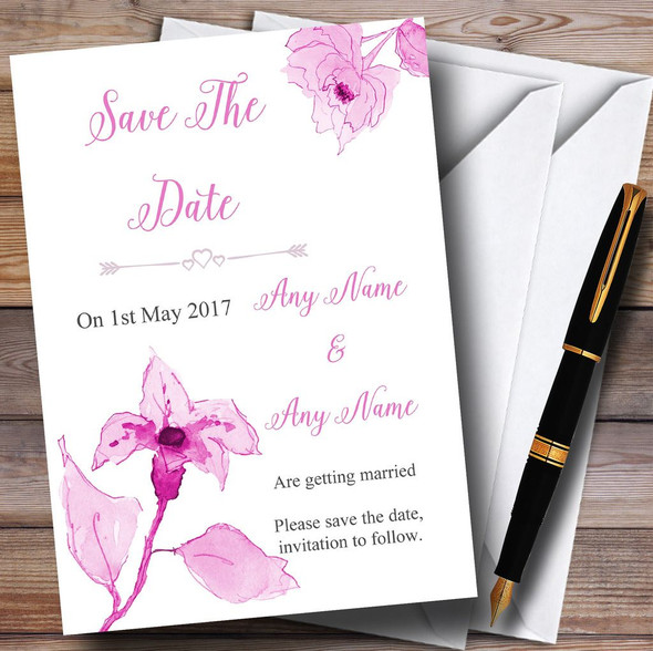 Beautiful Dusty Rose Pink Watercolour Flowers Personalised Save The Date Cards