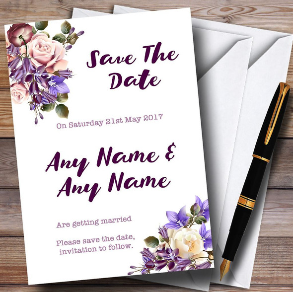 White Lilac & Blush Pink Watercolour Rose Personalised Save The Date Cards