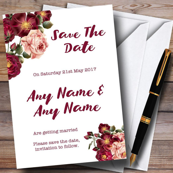 Blush Coral Pink & Deep Red Watercolour Rose Personalised Save The Date Cards