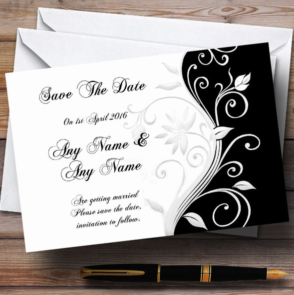 White Black Scroll Personalised Wedding Save The Date Cards