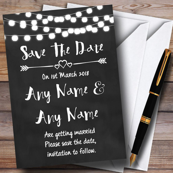Chalk Style and Lights Watercolour Personalised Wedding Save The Date Cards