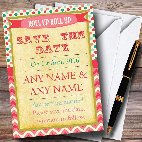 Vintage Carnival Old Style Circus Candy Pink Personalised Save The Date Cards