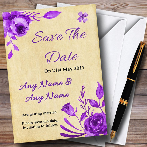 Vintage Cadbury Purple Watercolour Floral Personalised Save The Date Cards