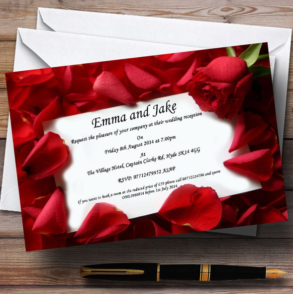Red Rose Love Note Personalised Wedding Invitations