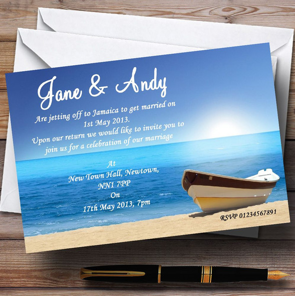 Beach Married Abroad / Jetting Off Personalised Wedding Invitations