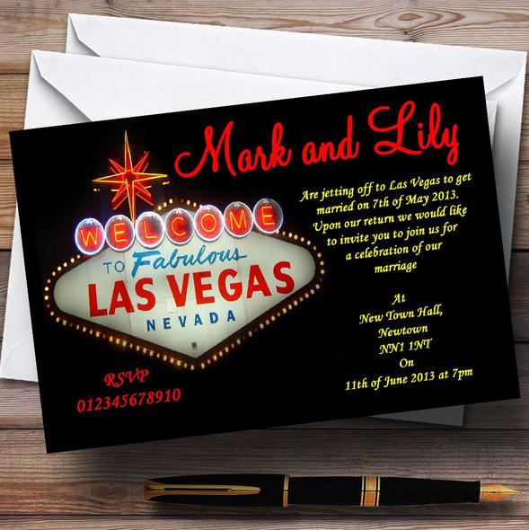 Las Vegas Sign Fabulous Personalised Wedding Invitations