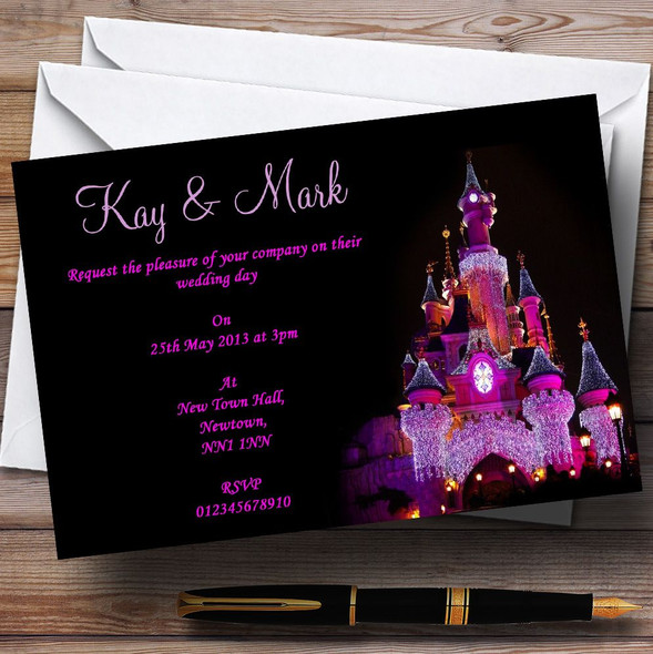 Pink Disney Castle Personalised Wedding Invitations