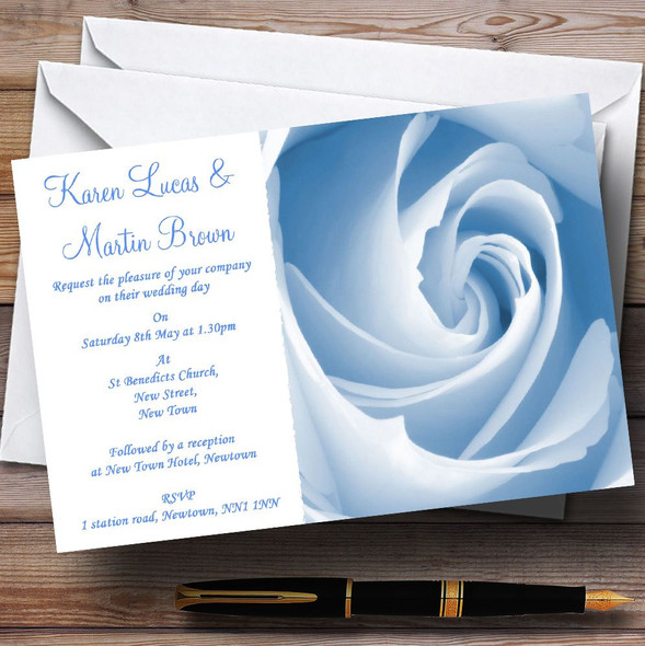 Baby Blue Pale Rose Personalised Wedding Invitations