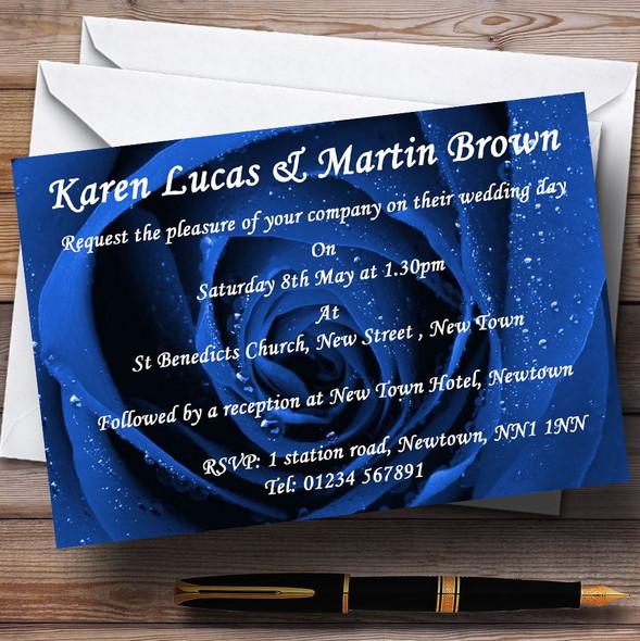 Stunning Royal Blue Rose Personalised Wedding Invitations