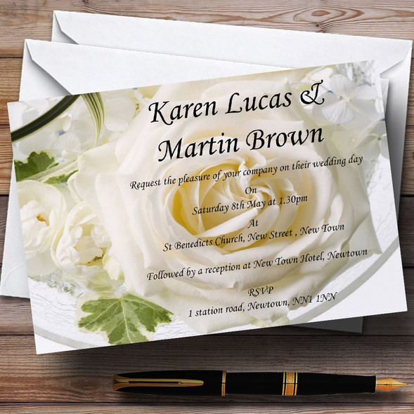 White Rose Personalised Wedding Invitations