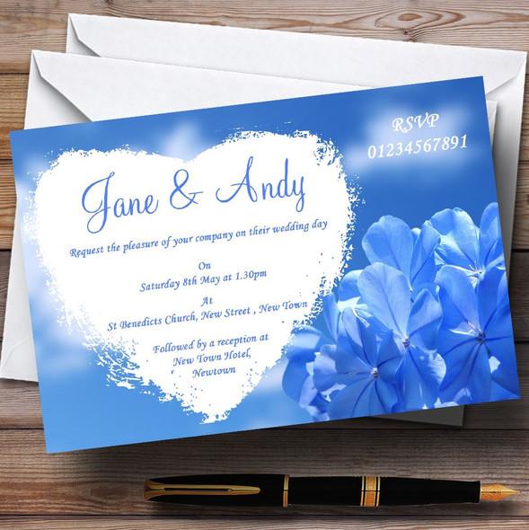 Pretty Sky Blue Flower Personalised Wedding Invitations