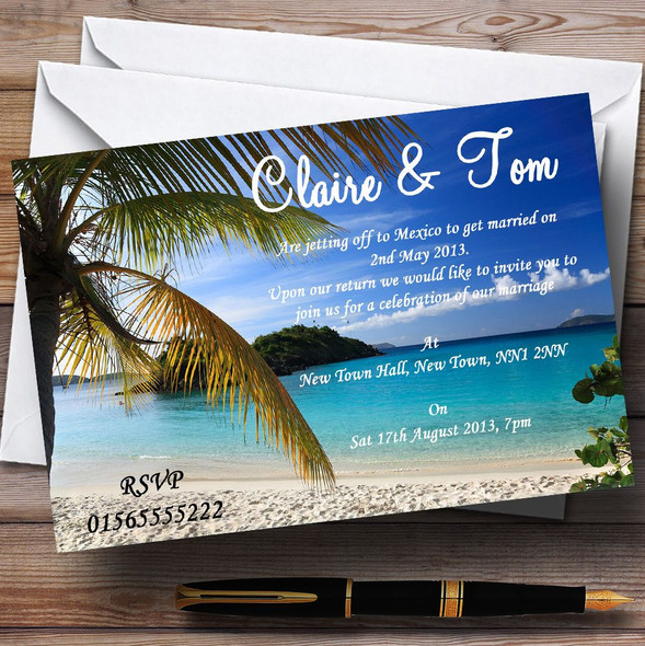 Palm Tree Beach Jetting Off Abroad Personalised Wedding Invitations