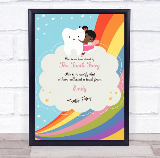 Dark Skin Girl Tooth Fairy Personalised Certificate Award Print