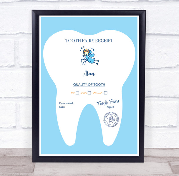 Blue Tooth Fairy Receipt Personalised Certificate Award Print