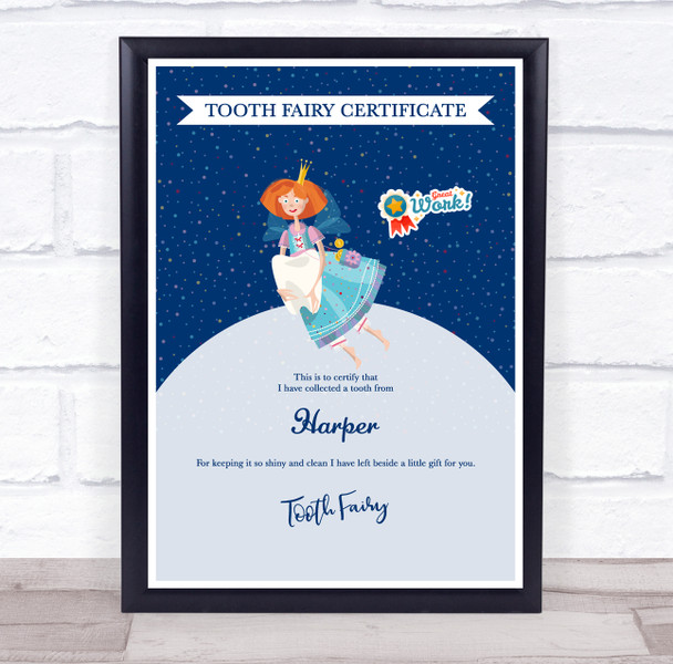 Blue Ginger Tooth Fairy Personalised Certificate Award Print