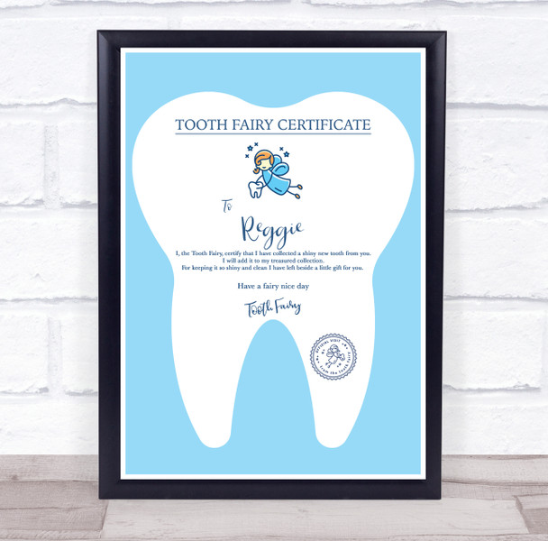 Blue Tooth Fairy Personalised Certificate Award Print