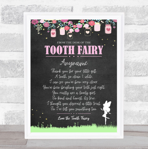 Tooth Fairy Poem Pastel Chalk Letter Certificate Award Print