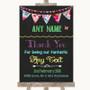 Bright Bunting Chalk Thank You Bridesmaid Page Boy Best Man Wedding Sign