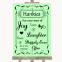 Green Hankies And Tissues Personalised Wedding Sign