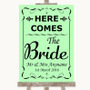 Green Here Comes Bride Aisle Sign Personalised Wedding Sign