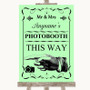 Green Photobooth This Way Left Personalised Wedding Sign