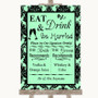 Mint Green Damask Signature Favourite Drinks Personalised Wedding Sign