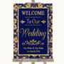 Blue & Gold Welcome To Our Wedding Personalised Wedding Sign