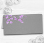 Rustic Vintage Dark Grey & Purple Blossom Wedding Table Seating Name Place Cards