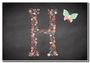 Chalk Letter Initial H  Personalised Magnet