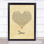 Jess Powell YOU Vintage Heart Song Lyric Quote Music Print