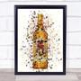 Watercolour Splatter Honey Spice Rum Bottle Wall Art Print