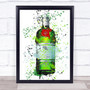 Watercolour Splatter Tanqueray London Dry Gin Bottle Wall Art Print