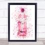 Watercolour Splatter Pink Gin Bottle Wall Art Print