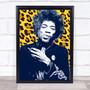 Jimi Hendrix Yellow Leopard Print Funky Framed Wall Art Print