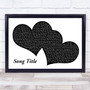 Any Song Lyrics Custom Landscape Black & White Two Hearts Song Lyric Print