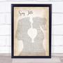 Any Song Lyrics Custom Lesbian Women Gay Brides Couple Wedding Song Lyric Print