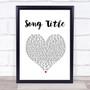 Any Song Lyrics Custom White Heart Wall Art Quote Personalised Lyrics Print