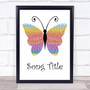 Any Song Custom Rainbow Butterfly Personalised Lyrics Print