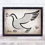 Any Song Custom Vintage Dove Bird Personalised Lyrics Print